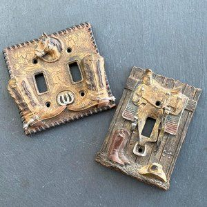 Two Western Cowboy Lightswitch Plates